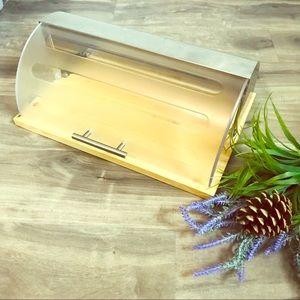 WOOD/METAL roll-top bread box